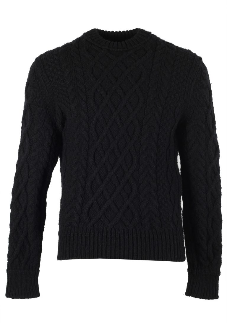TOM FORD Black Cable Knit Sweater Size 48 / 38R U.S. In Silk Blend - thumbnail | Costume Limité