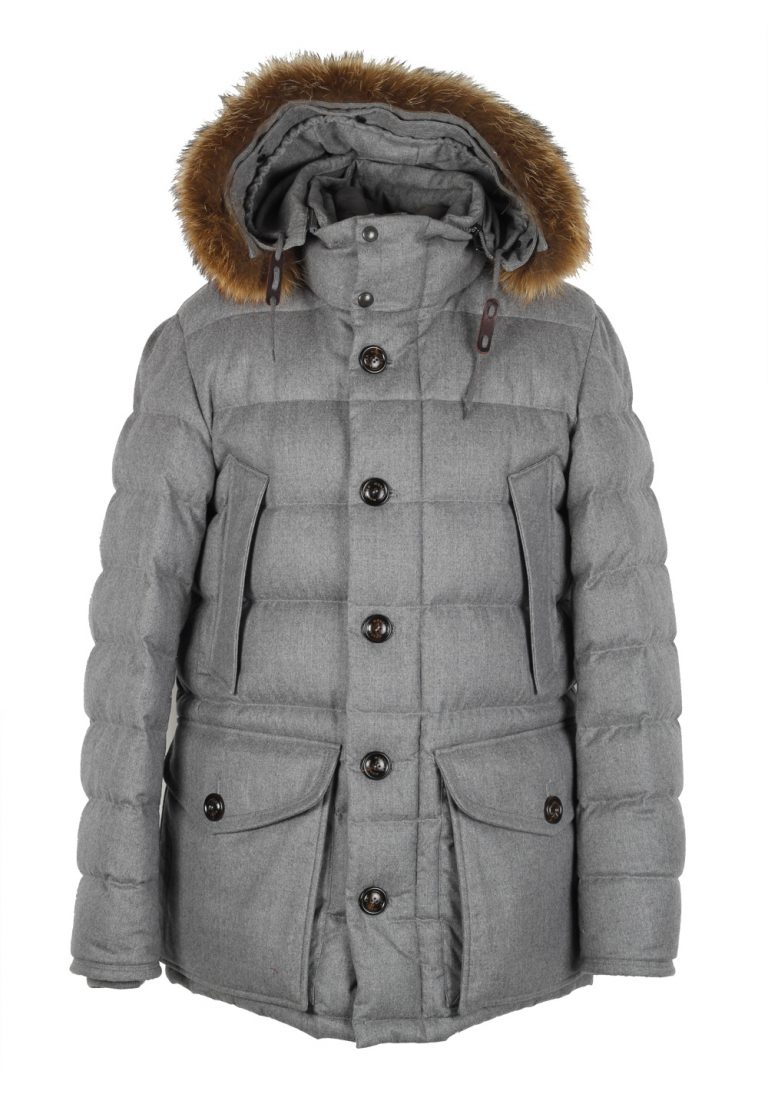 Moncler Gray Rethel Quilted Down Jacket Coat Size 5 / XL / 54 / 44 U.S. - thumbnail | Costume Limité