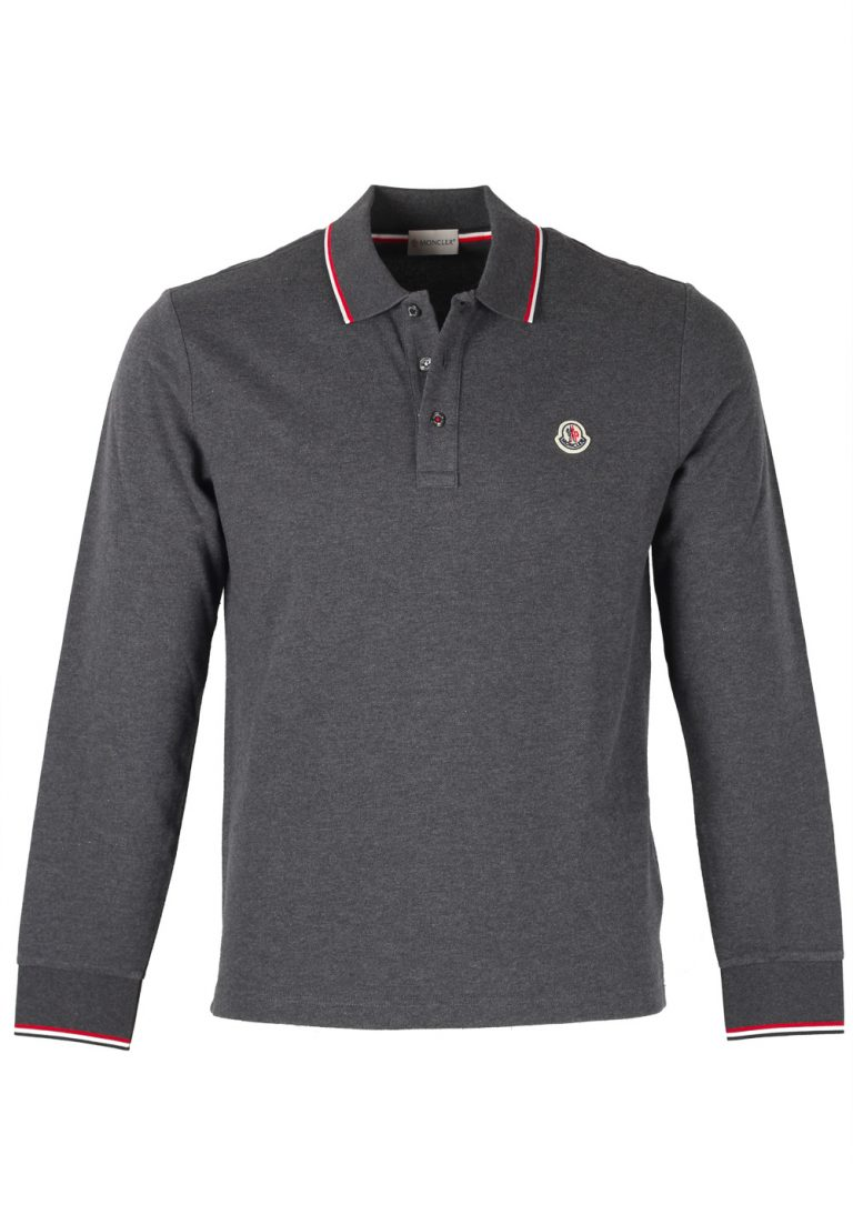 Moncler Gray Long Sleeve Polo Shirt Size XL / 42R U.S. - thumbnail | Costume Limité