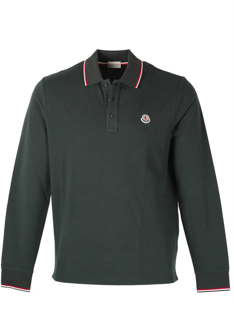Moncler Green Long Sleeve Polo Shirt Size L / 40R U.S. - thumbnail | Costume Limité