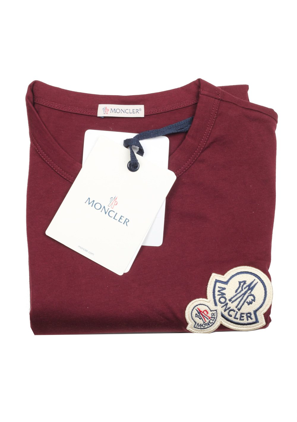 Moncler Red Brand Patch Crew Neck Tee Shirt Size L / 40R U.S. | Costume Limité
