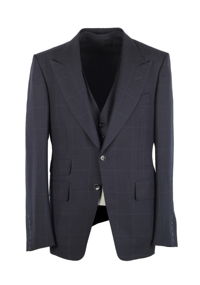 TOM FORD Shelton Checked Blue 3 Piece Suit Size 48C / 38S U.S. In Wool Mohair - thumbnail | Costume Limité