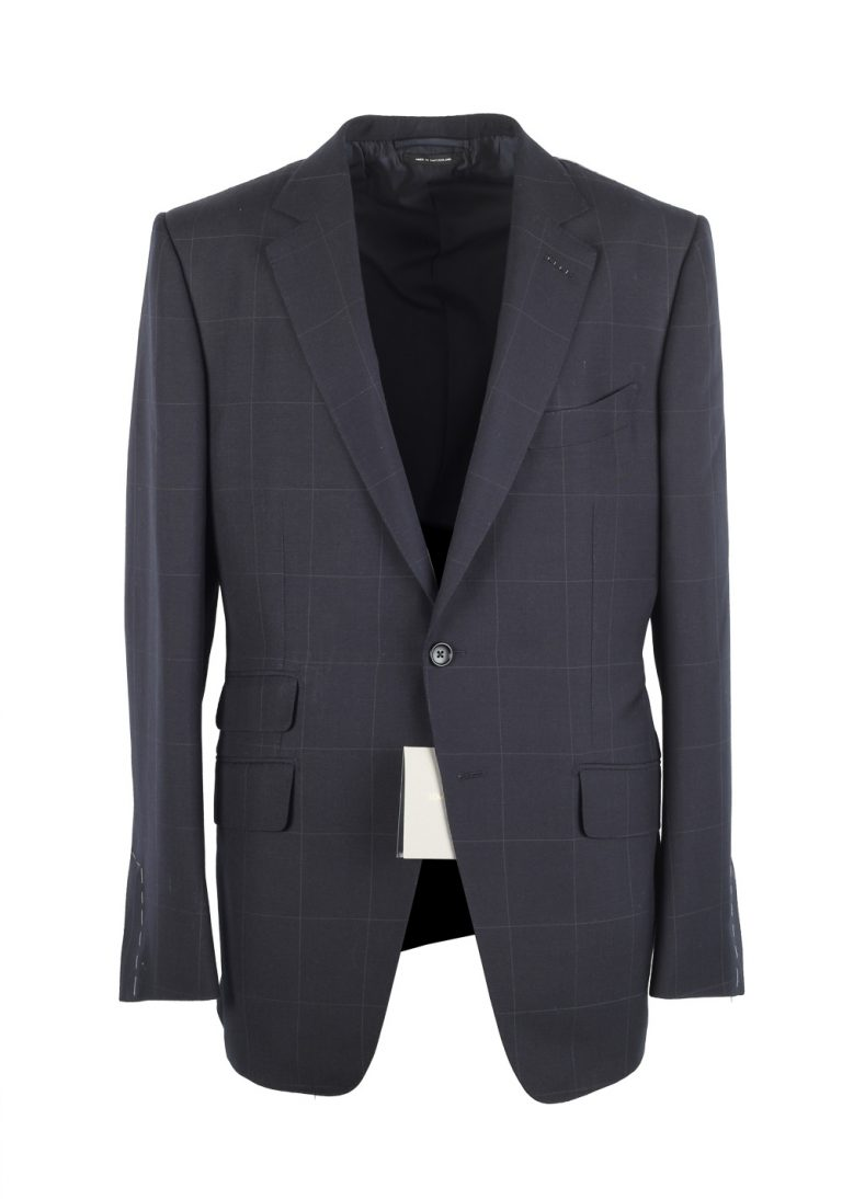 TOM FORD O'Connor Checked Blue Suit Size 52 / 42R U.S. Wool Mohair Fit Y - thumbnail | Costume Limité