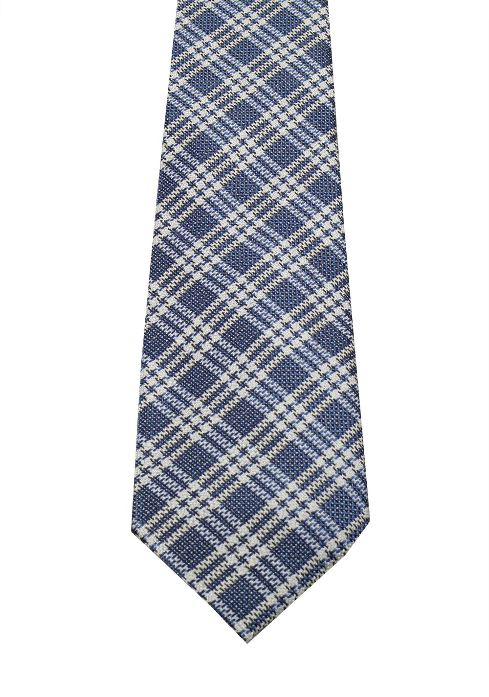 TOM FORD Checked Blue Tie In Silk | Costume Limité