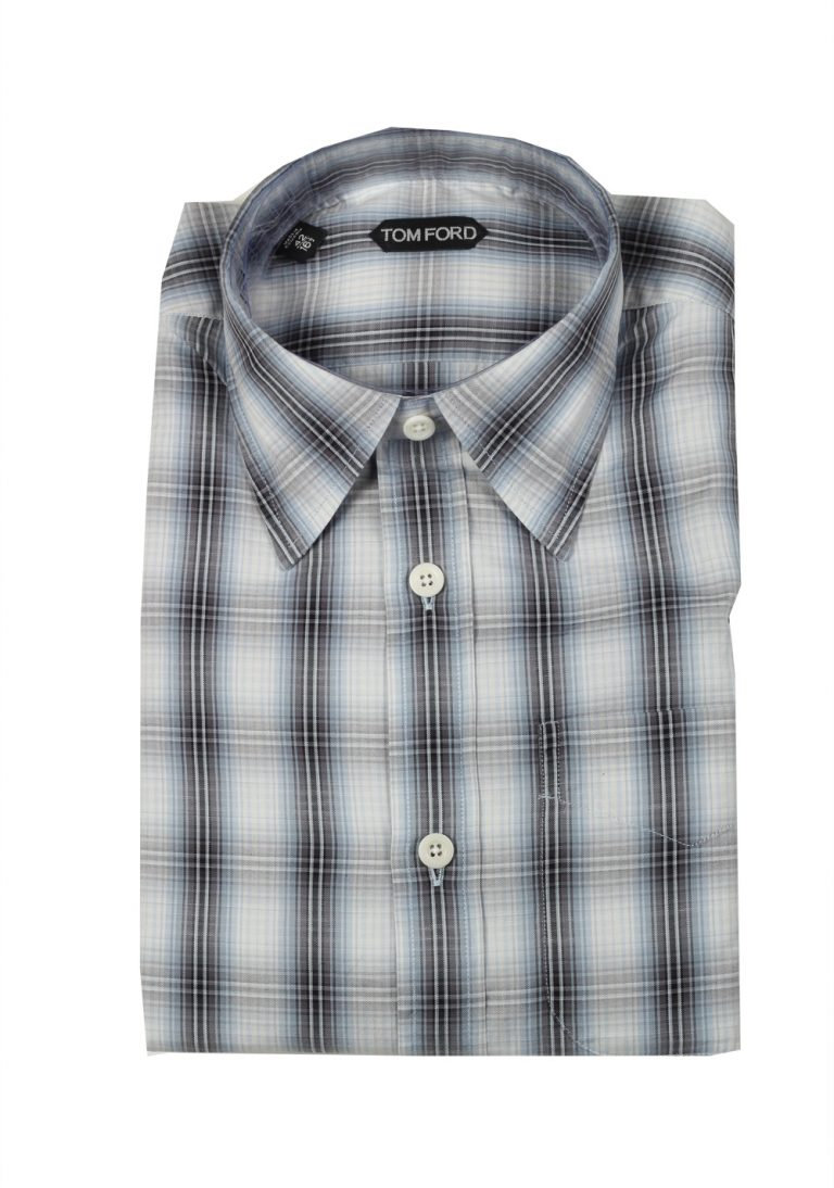 TOM FORD Checked Gray Blue Casual Shirt Size 42 / 16,5 U.S. - thumbnail | Costume Limité