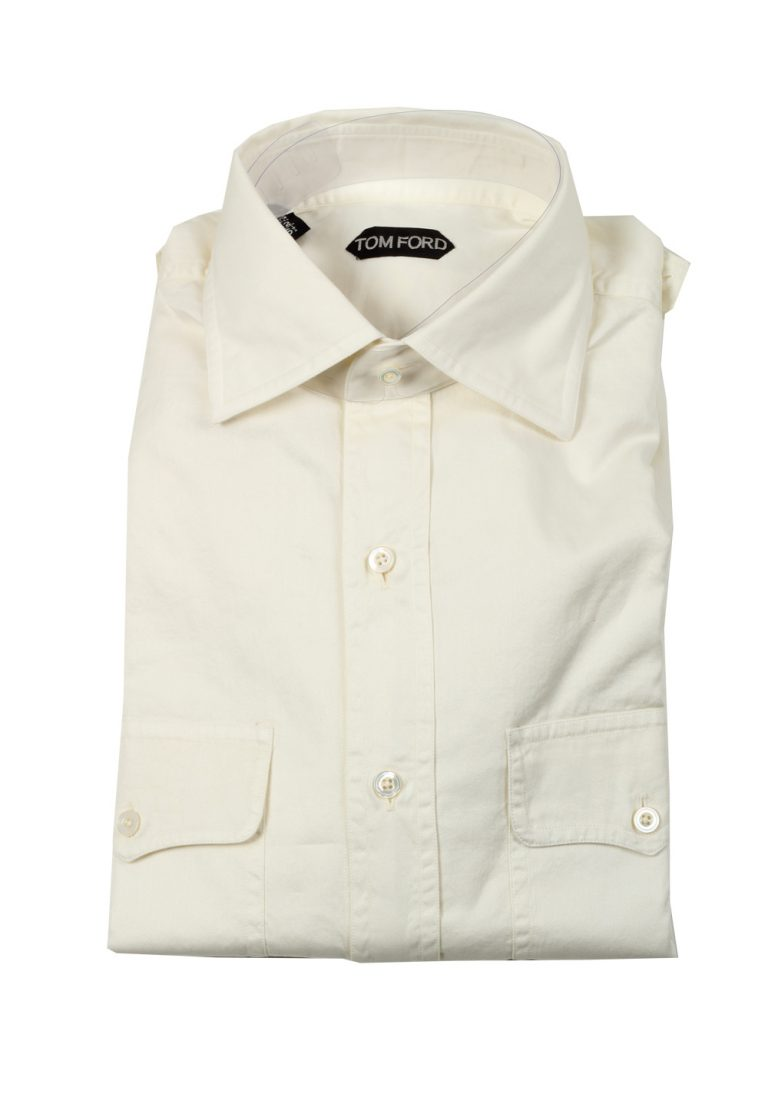 TOM FORD Solid Off White Casual Shirt Size 42 / 16,5 U.S. - thumbnail | Costume Limité
