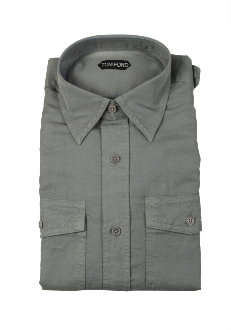 TOM FORD Solid Green Casual Shirt Size 42 / 16,5 U.S. - thumbnail | Costume Limité
