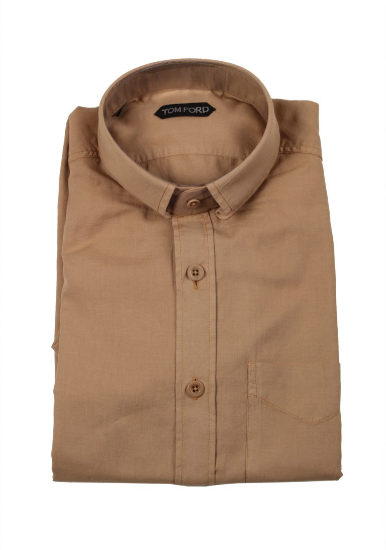 TOM FORD Solid Beige Casual Shirt Size 41 / 16 U.S. - thumbnail | Costume Limité