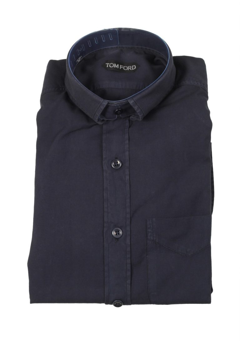 TOM FORD Solid Blue Casual Shirt Size 40 / 15,75 U.S. - thumbnail | Costume Limité