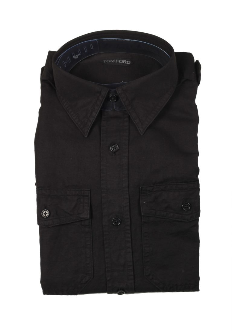TOM FORD Solid Black Casual Shirt Size 39 / 15,5 U.S. - thumbnail | Costume Limité