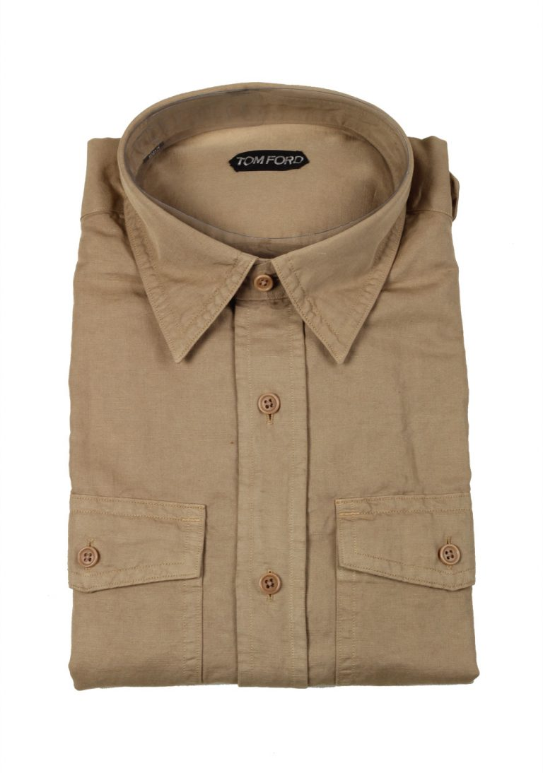 TOM FORD Solid Beige Casual Shirt Size 43 / 17 U.S. - thumbnail | Costume Limité