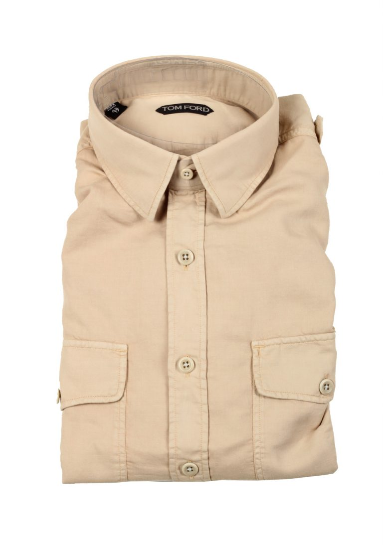TOM FORD Solid Beige Casual Shirt Size 43 / 17 U.S. - thumbnail   Costume Limité