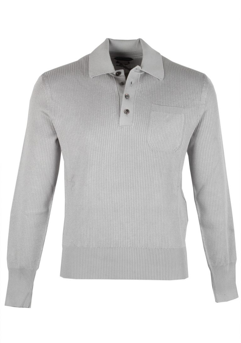 TOM FORD Gray Long Sleeve Polo Size 56 / 46R U.S. - thumbnail | Costume Limité