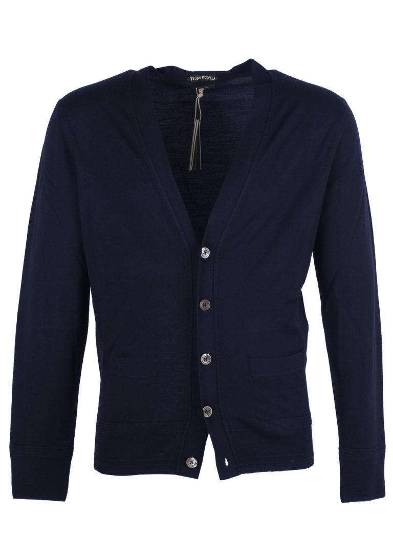 TOM FORD Blue Button Cardigan Size 44 / 34R U.S. In Wool - thumbnail | Costume Limité