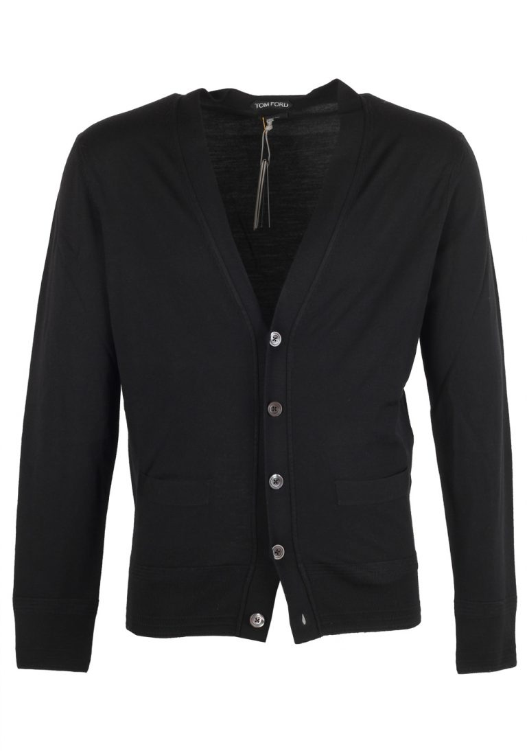 TOM FORD Black Button Cardigan Size 52 / 42R U.S. In Wool - thumbnail | Costume Limité