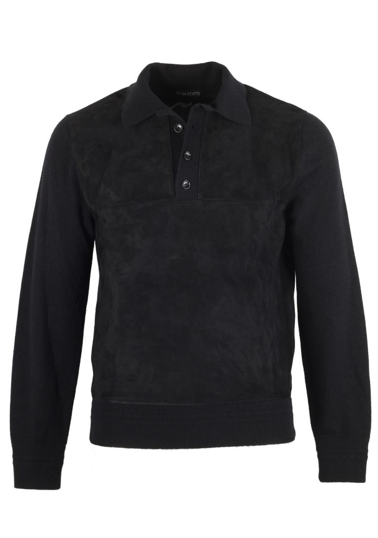 TOM FORD Black Suede Long Sleeve Polo Size 48 / 38R U.S. In Cashmere - thumbnail | Costume Limité