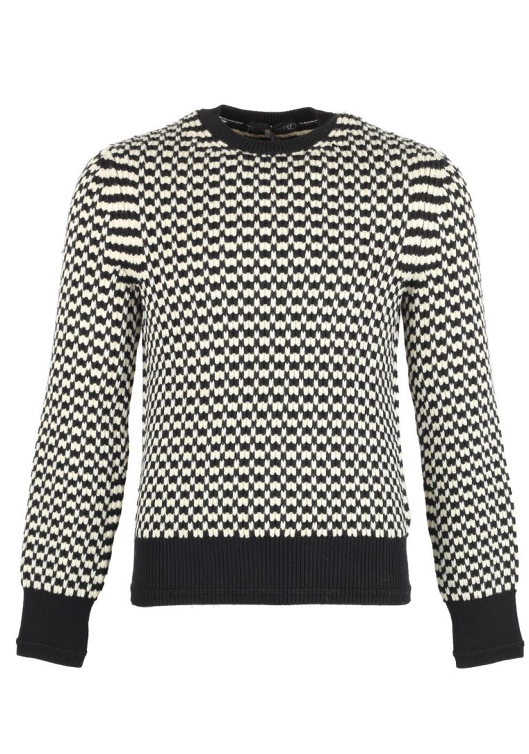 TOM FORD Black White Crew Neck Sweater Size 48 / 38R U.S. In Wool - thumbnail | Costume Limité