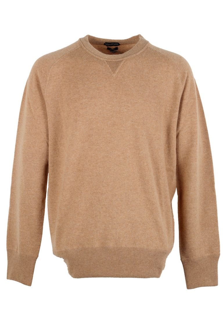 TOM FORD Camel Crew Neck Sweater Size 58 / 48R U.S. In Cashmere - thumbnail | Costume Limité