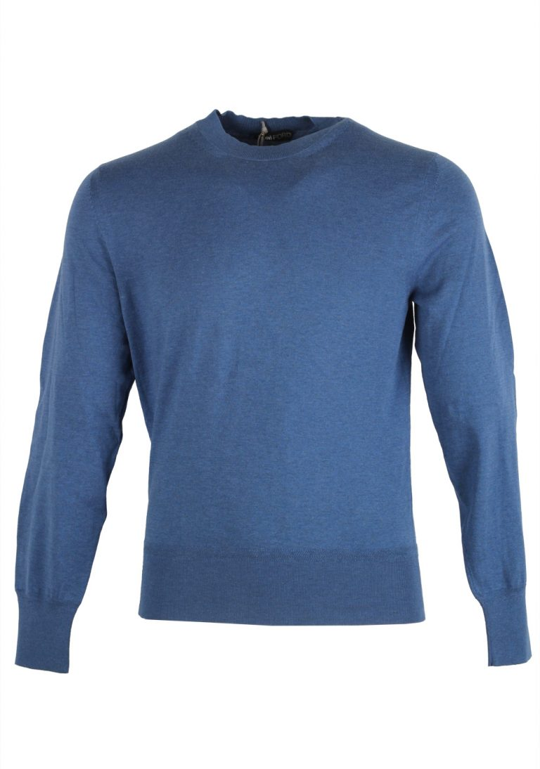 TOM FORD Blue Crew Neck Sweater Size 48 / 38R U.S. In Cotton - thumbnail | Costume Limité