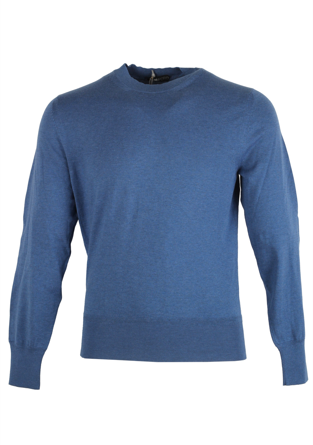 TOM FORD Blue Crew Neck Sweater Size 48 / 38R U.S. In Cotton | Costume Limité