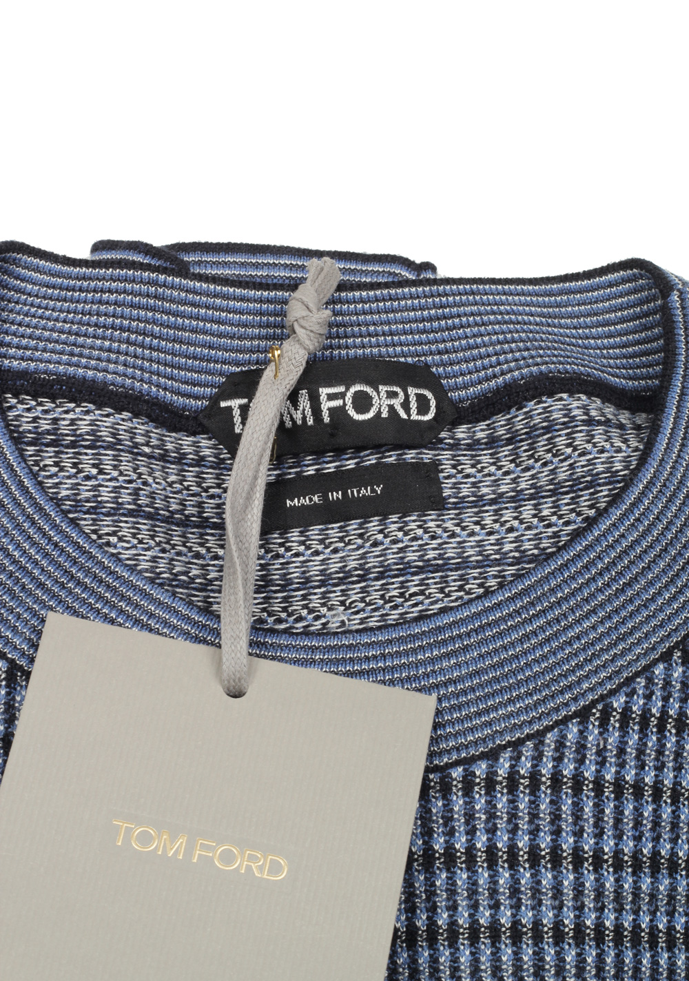 TOM FORD Blue Crew Neck Sweater Size 48 / 38R U.S. In Wool Silk | Costume Limité