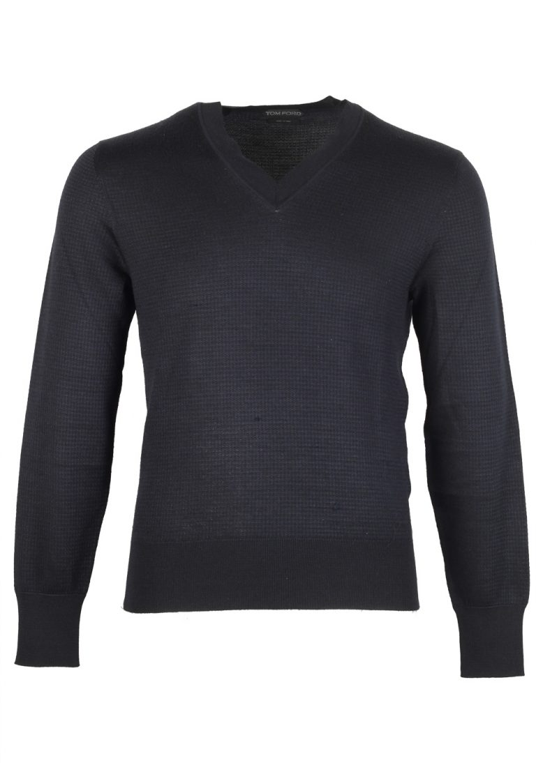 TOM FORD Blue V Neck Sweater Size 48 / 38R U.S. In Silk Cashmere - thumbnail | Costume Limité