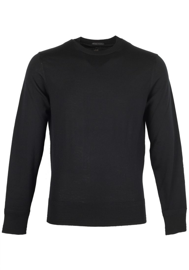 TOM FORD Black Crew Neck Sweater Size 48 / 38R U.S. In Wool - thumbnail | Costume Limité