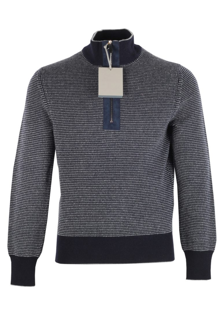 TOM FORD Blue Funnel Collar Sweater Size 48 / 38R U.S. In Cashmere - thumbnail | Costume Limité