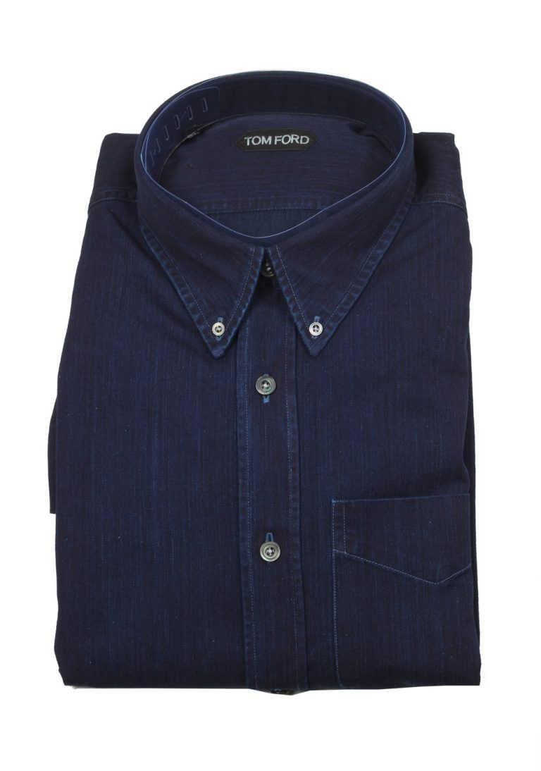 TOM FORD Solid Blue Denim Casual Button Down Shirt Size 46 / 18,5 U.S. - thumbnail | Costume Limité