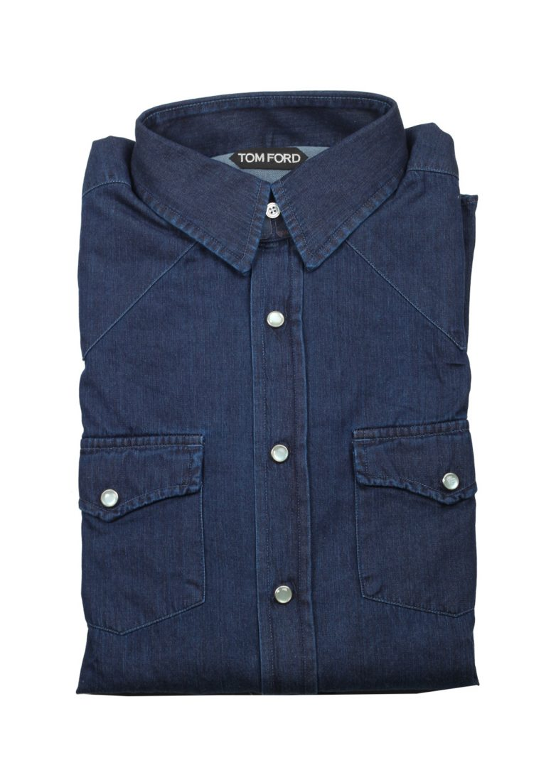 TOM FORD Solid Blue Denim Western Casual Shirt Size 43 / 17 U.S. - thumbnail | Costume Limité