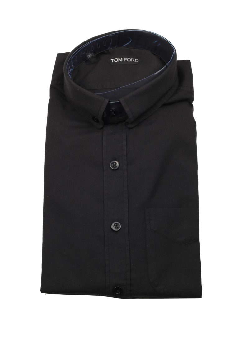 TOM FORD Solid Black Casual Button Down Shirt Size 40/ 15,75 U.S. - thumbnail | Costume Limité