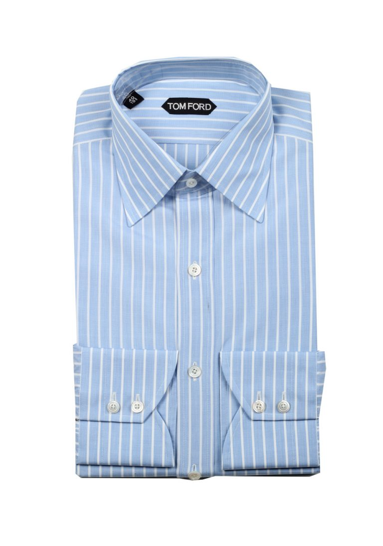TOM FORD Striped White Blue Dress Shirt Size 40 / 15,75 U.S. - thumbnail | Costume Limité