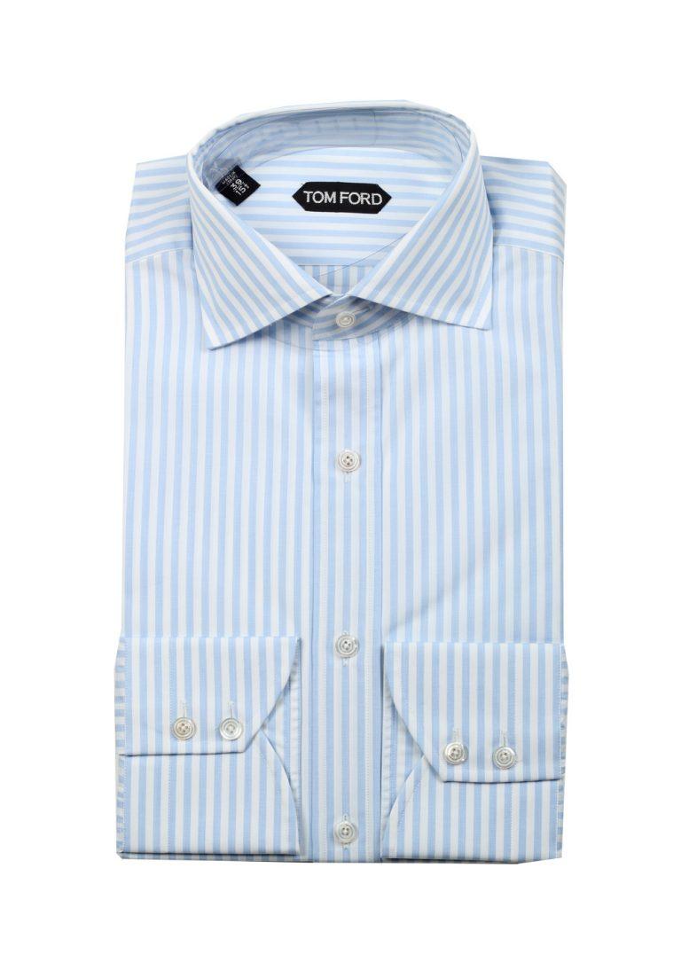 TOM FORD Striped White Blue Shirt Size 39 / 15,5 U.S. - thumbnail | Costume Limité