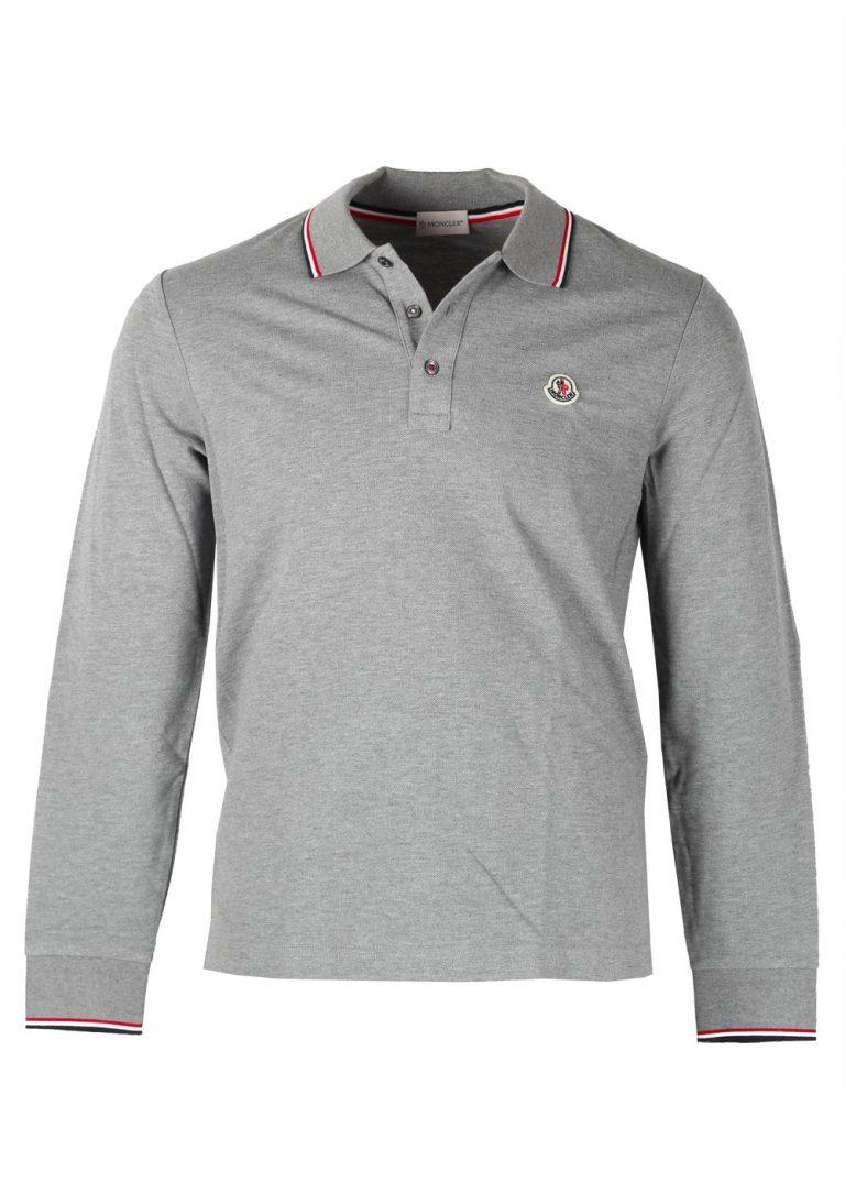 Moncler Gray Long Sleeve Polo Shirt Size L / 40R U.S. - thumbnail | Costume Limité