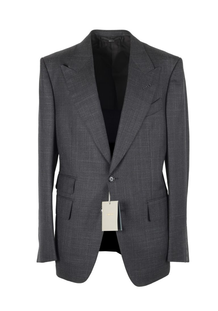 TOM FORD Shelton Checked Gray Suit Size 48 / 38R U.S. In Wool Silk - thumbnail | Costume Limité