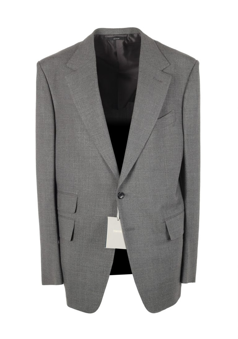 TOM FORD Shelton Solid Gray Suit Size 54 / 44R U.S. In Wool Silk - thumbnail | Costume Limité