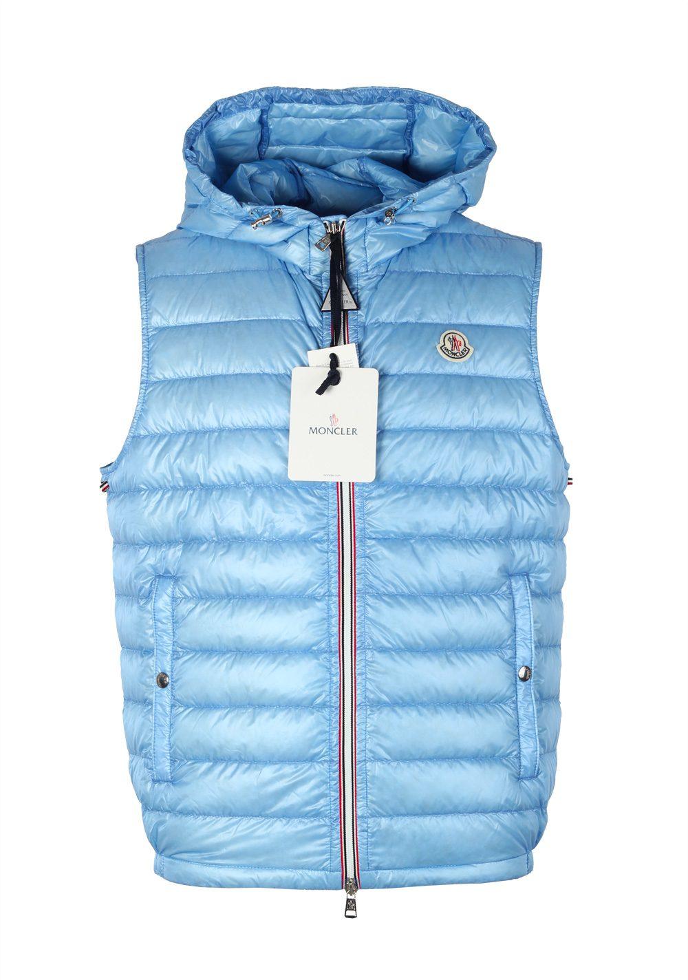 Moncler Blue Gien Hooded Shell Gilet Vest Size 4 / L / 52 / 42 U.S. | Costume Limité