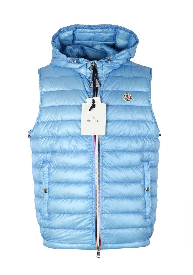 Moncler Blue Gien Hooded Shell Gilet Vest Size 4 / L / 52 / 42 U.S. - thumbnail | Costume Limité