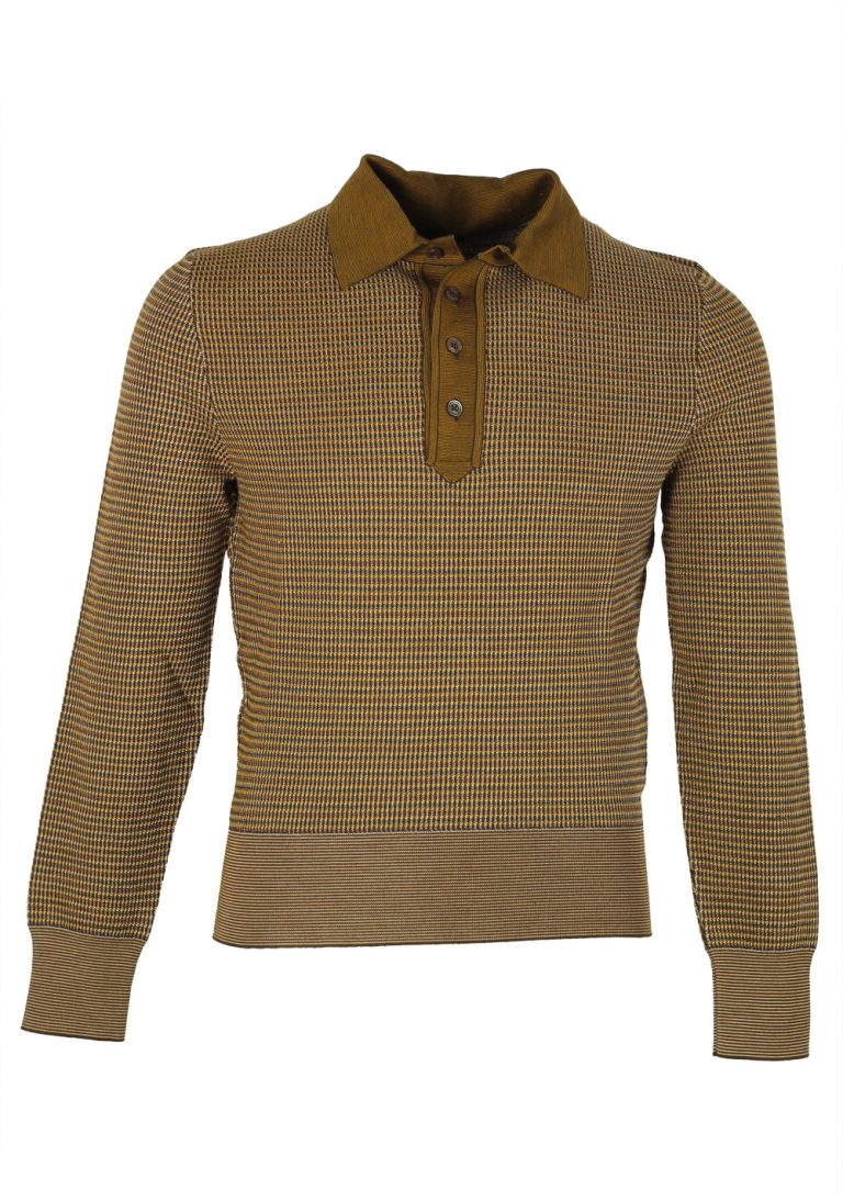 TOM FORD Yellow Long Sleeve Polo Sweater Size 48 / 38R U.S. In Wool Silk - thumbnail | Costume Limité