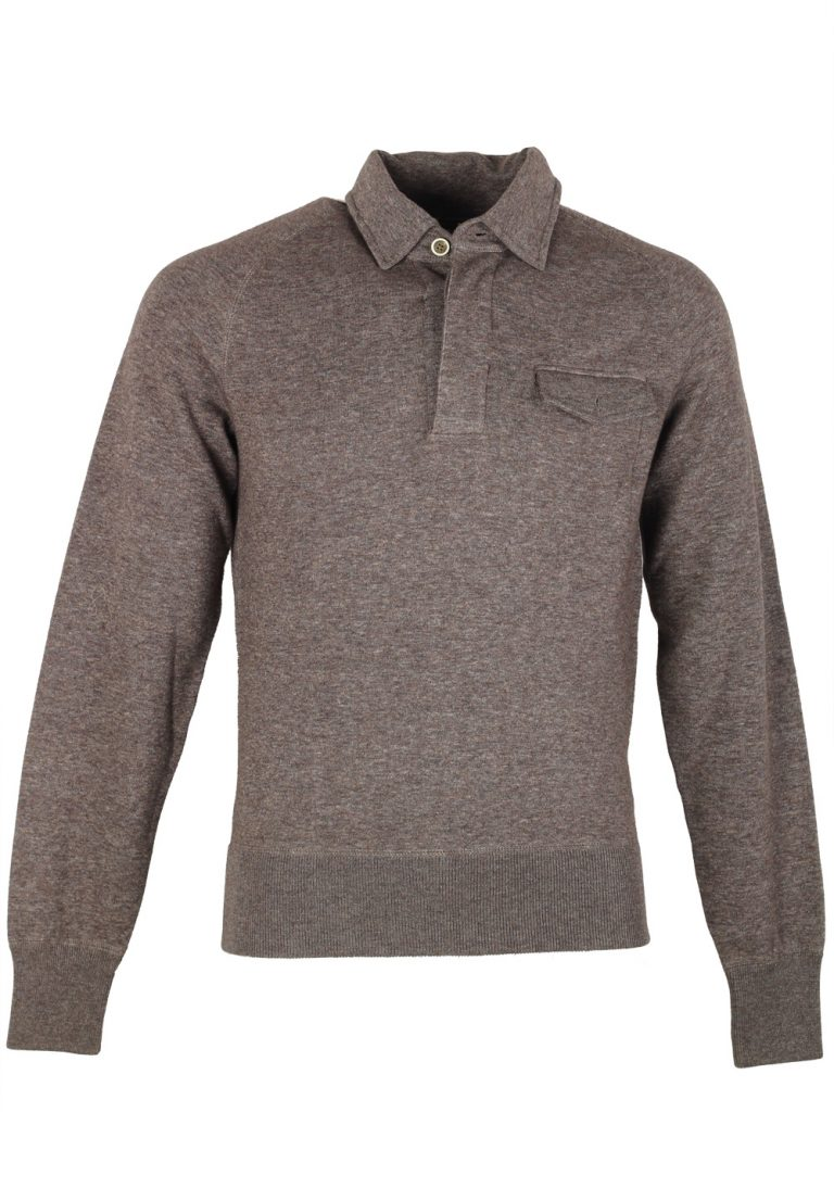 TOM FORD Gray Long Sleeve Jersey Polo Sweater Size 48 / 38R U.S. - thumbnail | Costume Limité