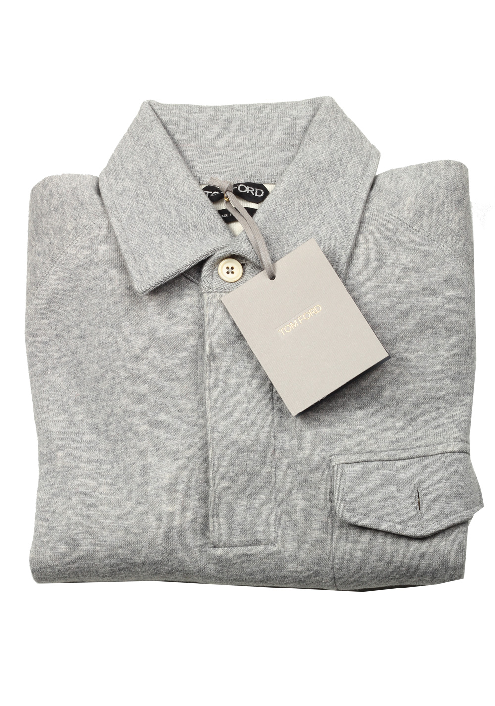 TOM FORD Gray Long Sleeve Jersey Polo Sweater Size 48 / 38R U.S. | Costume Limité