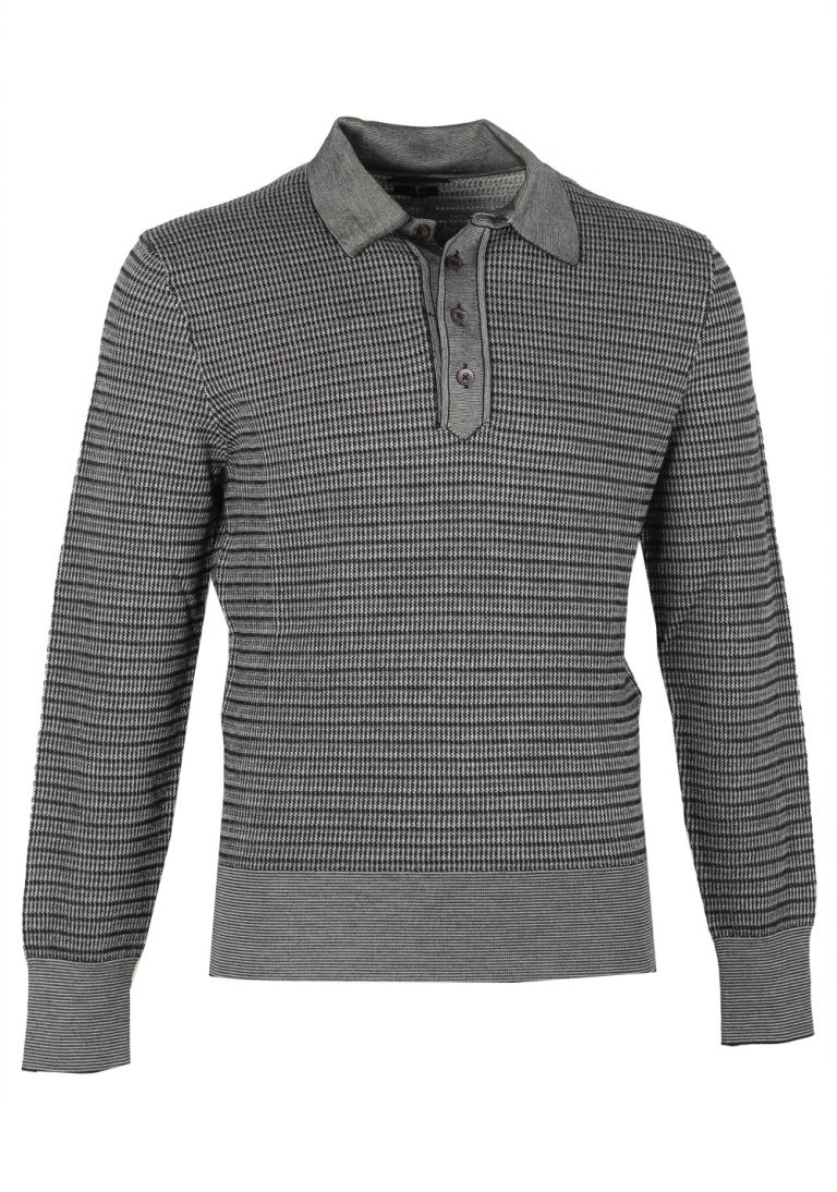 TOM FORD Gray Long Sleeve Polo Sweater Size 48 / 38R U.S. In Wool Silk - thumbnail | Costume Limité