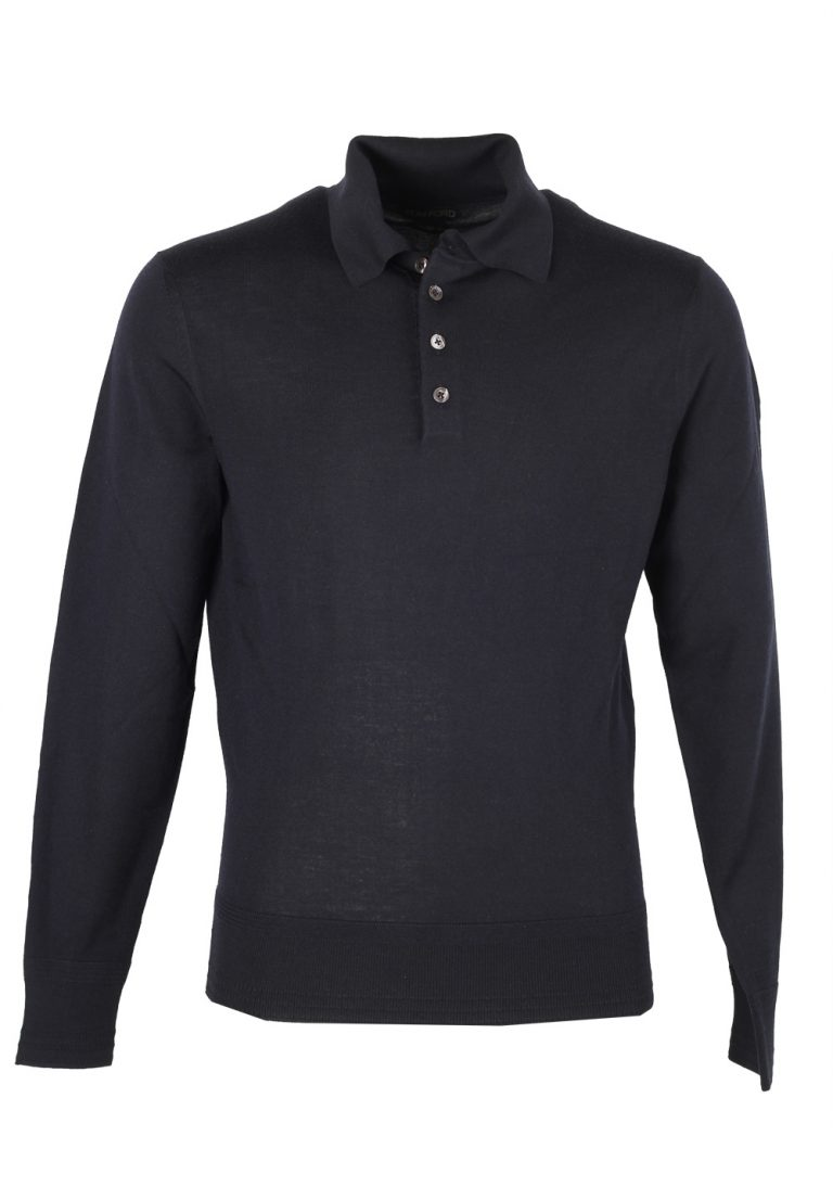 TOM FORD Blue Long Sleeve Polo Sweater Size 48 / 38R U.S. In Cashmere - thumbnail | Costume Limité
