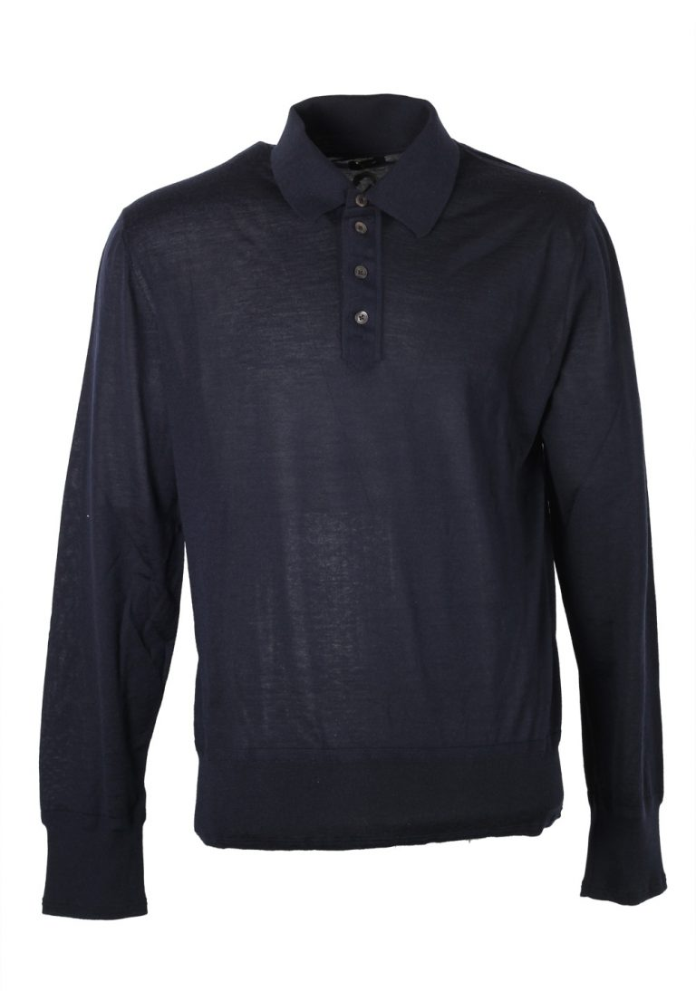 TOM FORD Blue Long Sleeve Polo Sweater Size 56 / 46R U.S. In Cashmere - thumbnail | Costume Limité