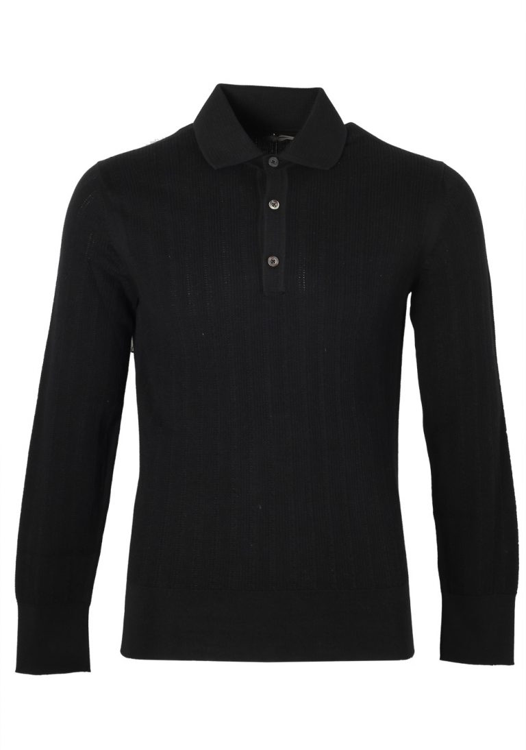 TOM FORD Black Long Sleeve Polo Sweater Size 48 / 38R U.S. In Cotton - thumbnail | Costume Limité