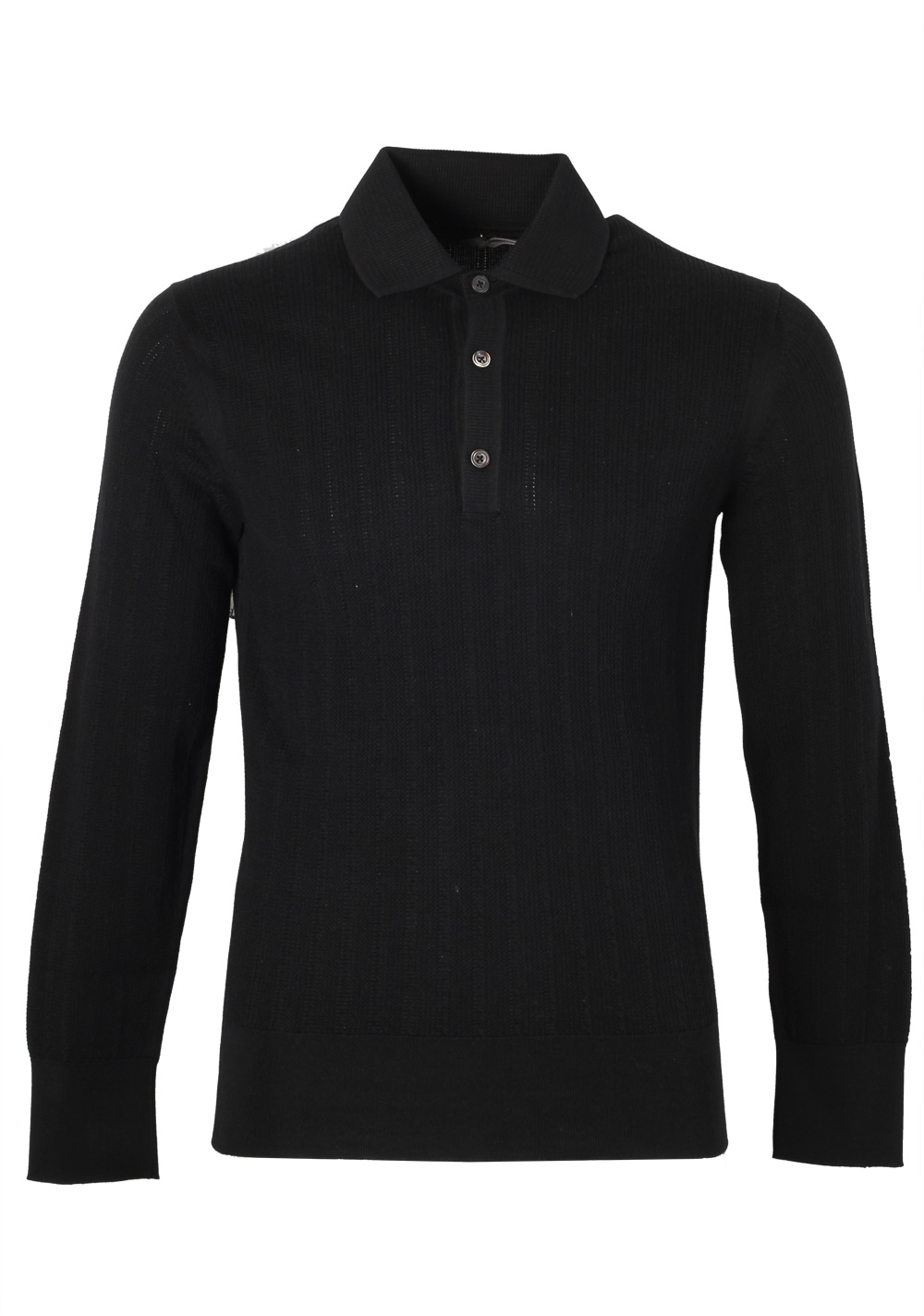 TOM FORD Black Long Sleeve Polo Sweater Size 48 / 38R U.S. In Cotton   Costume Limité
