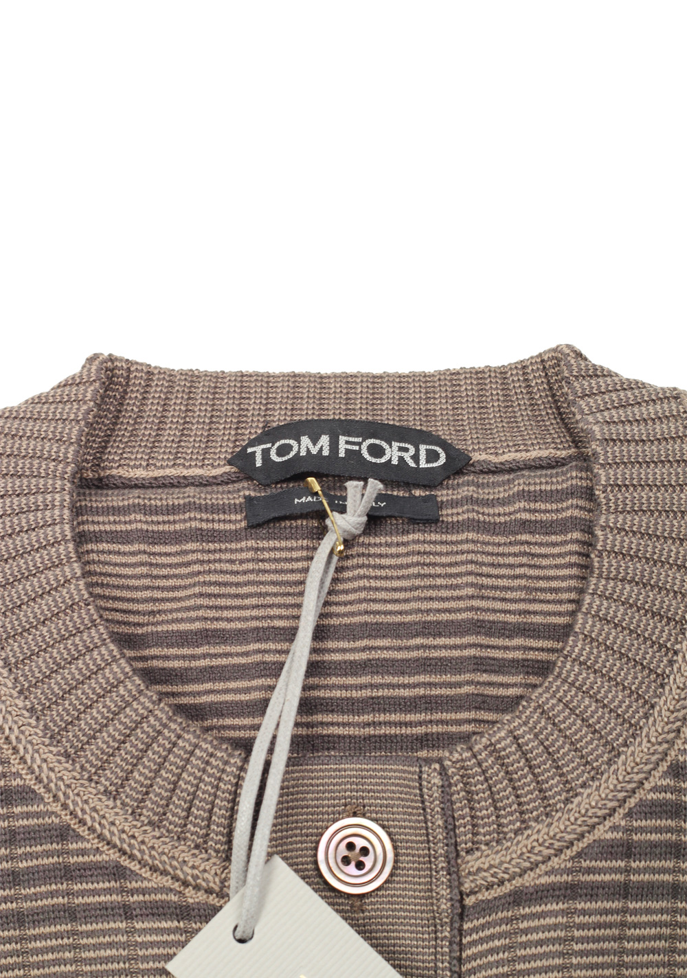 TOM FORD Brown Long Sleeve Henley Sweater Size 48 / 38R U.S. In Silk Blend | Costume Limité