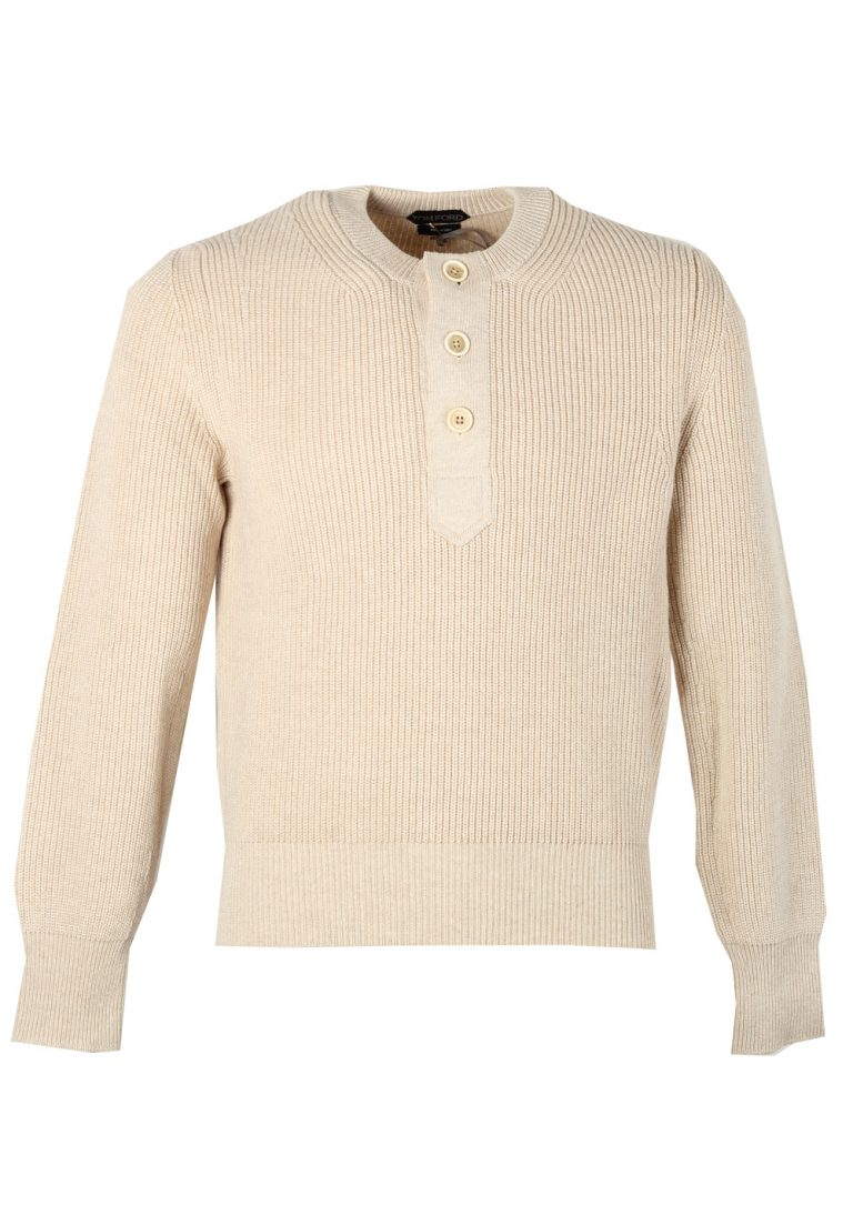 TOM FORD Off White Long Sleeve Henley Sweater Size 48 / 38R U.S. In Cashmere Blend - thumbnail | Costume Limité