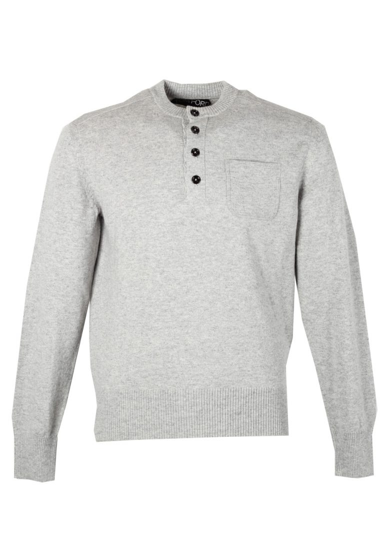 TOM FORD Gray Long Sleeve Henley Sweater Size 48 / 38R U.S. In Cashmere - thumbnail | Costume Limité