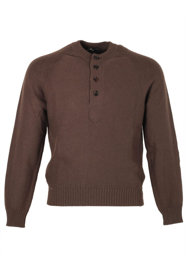 TOM FORD Brown Long Sleeve Henley Sweater Size 48 / 38R U.S. In Silk Cashmere Blend - thumbnail | Costume Limité
